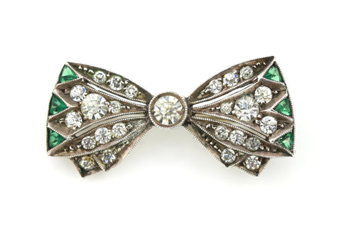 Adorable Art Deco Silver Paste Brooch, with Bow Motif c.1920