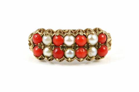 Gorgeous 9ct Gold, Coral & Pearl Dress Ring- Circa 1970