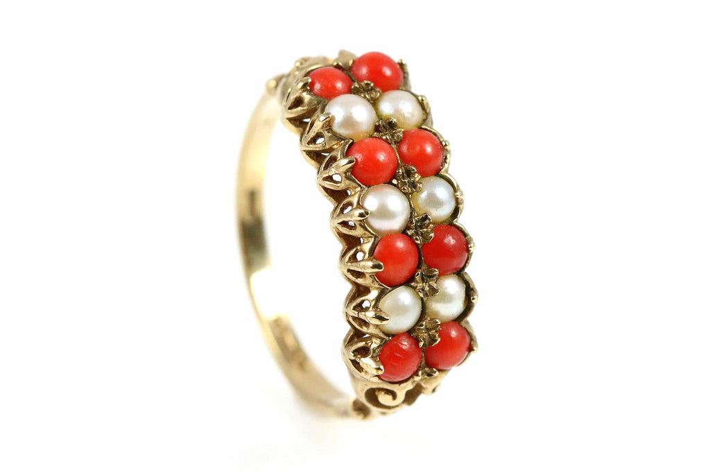Dress Ring Victorian Revival- Circa 1970- 9ct Gold, Coral & Pearl