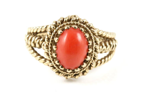 Vintage 9ct Gold Coral Dress Ring- Circa 1970