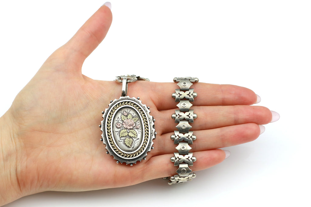 Victorian Aesthetic Silver Book Chain Locket with Gold Accents c.1880