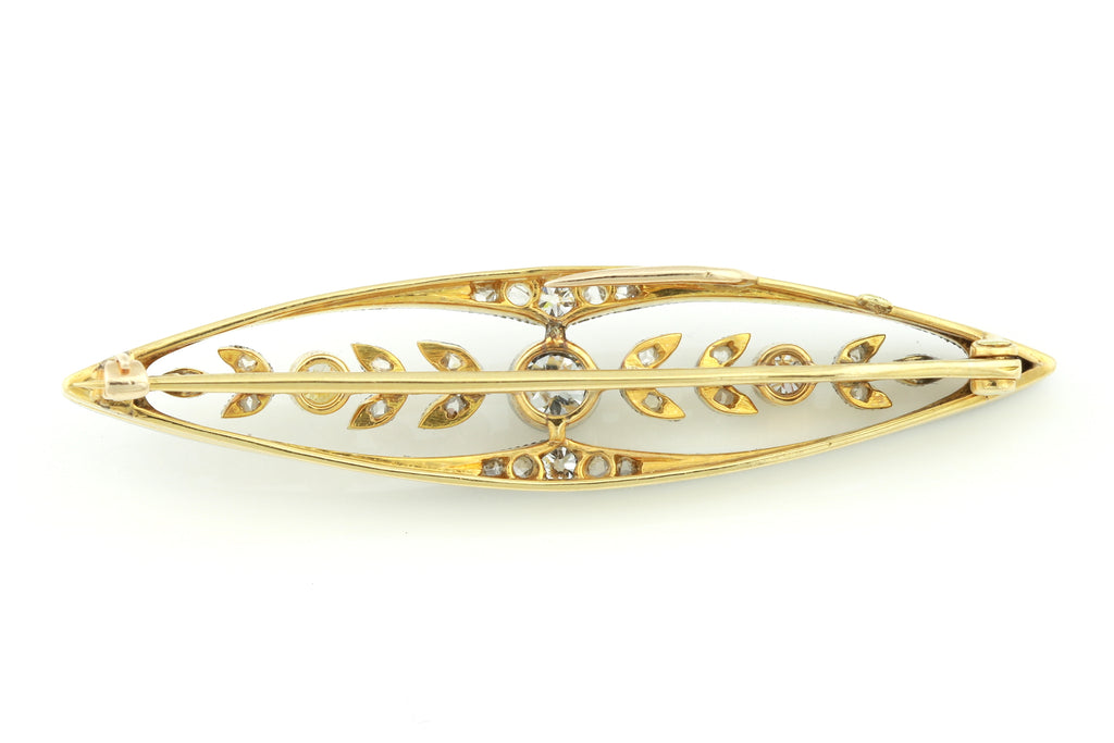 18ct Gold and Platinum Edwardian Diamond Brooch  c.1901