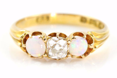 Superb Art Deco 18ct Gold Opal  & Diamond Trilogy Ring- Circa 1928