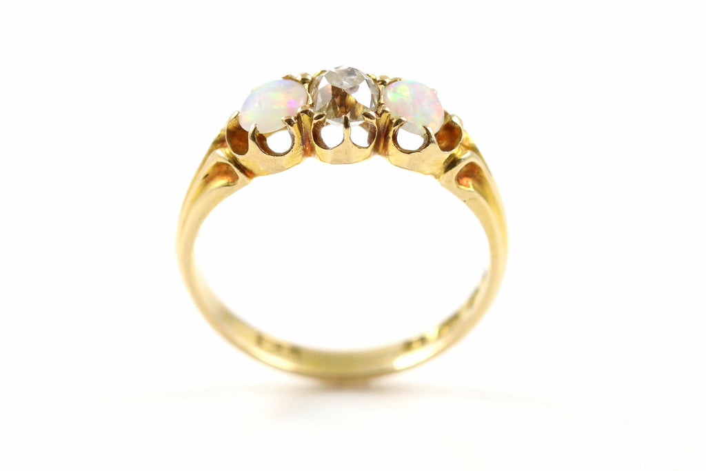 Art Deco 18ct Gold Opal  & Diamond Trilogy Ring - c.1928