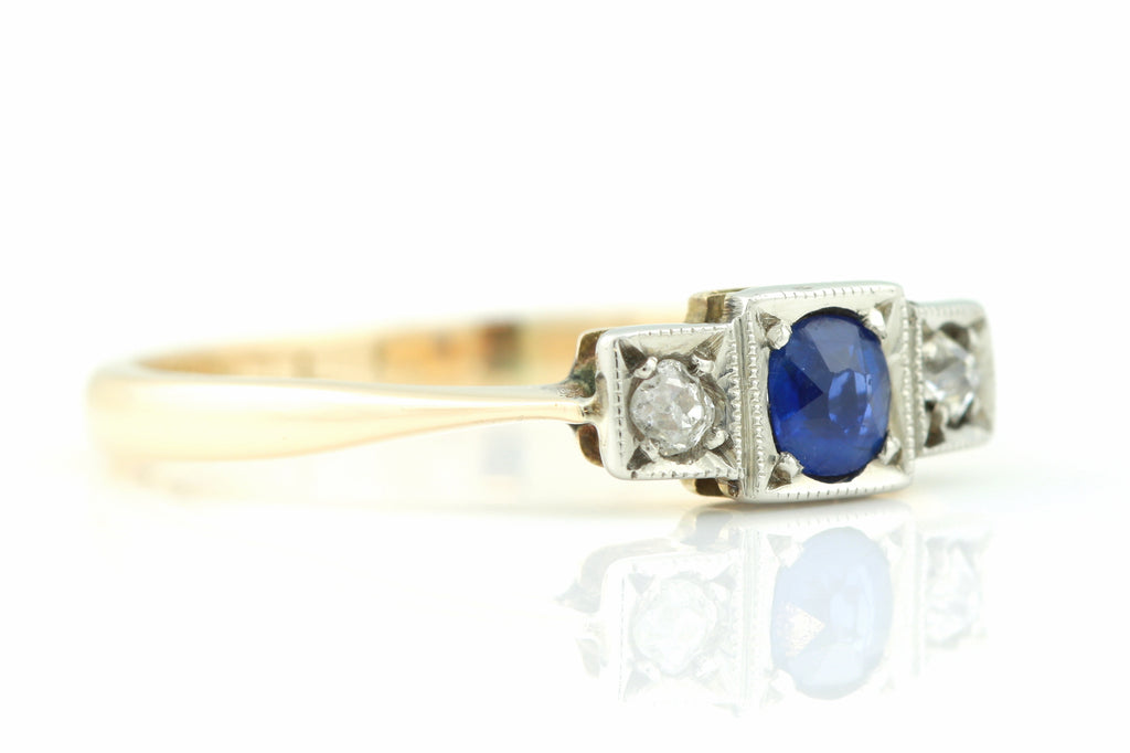 RESERVED (plus size to O) Art Deco Sapphire and Diamond Trilogy Ring c.1920