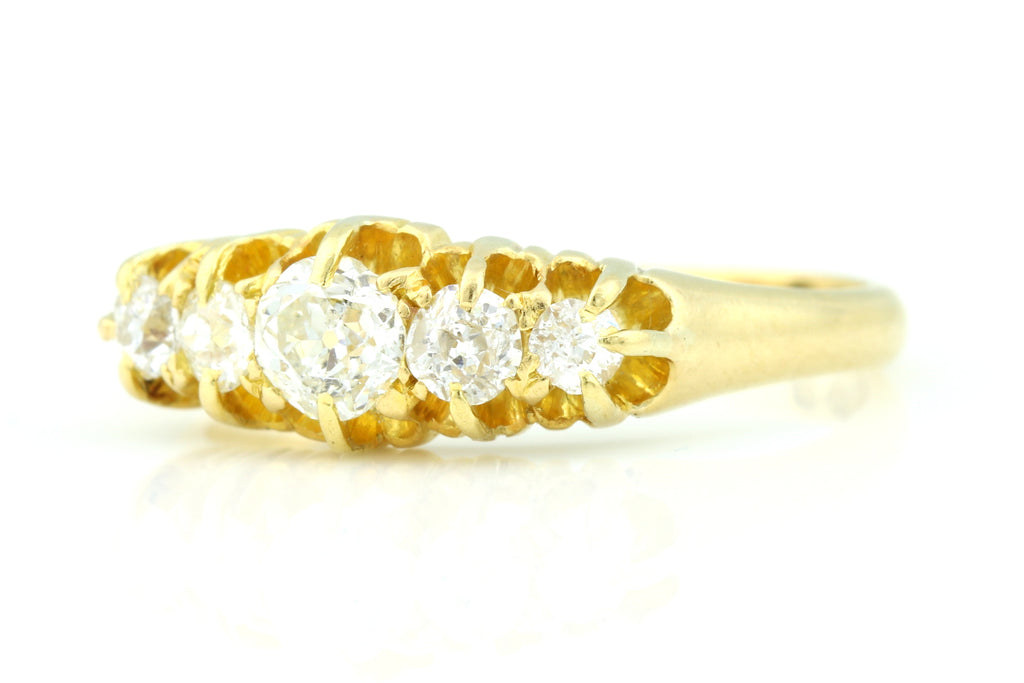 Antique 18ct Gold Victorian 5 Stone Diamond Ring - (0.75ct) England c.1893