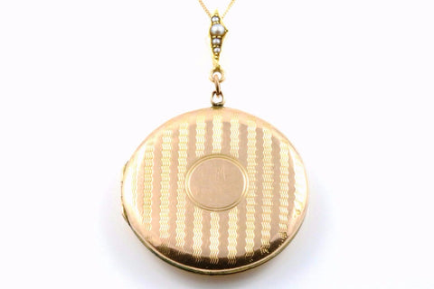 9ct Rose Gold Art Deco Locket with Seed Pearls - Circa 1920