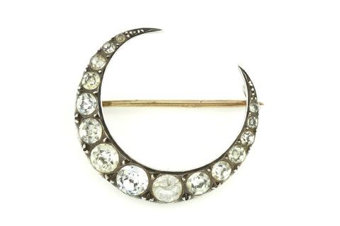 Charming Victorian Crescent Moon Brooch