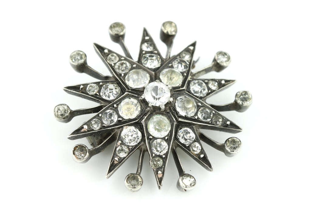 Antique Victorian Silver Paste Star Brooch