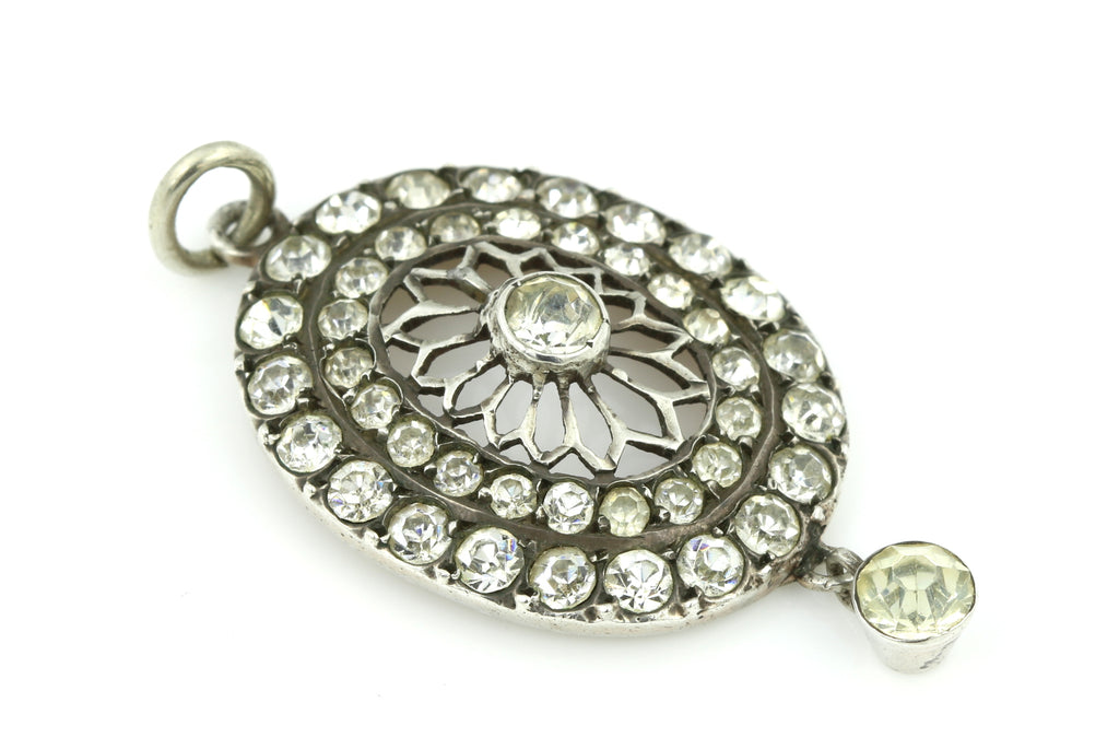 Elegant Antique Edwardian Silver Paste Pendant c.1905