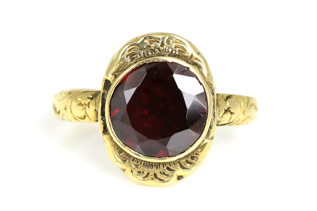 Romantic 18ct Gold Antique Victorian Garnet Ring c.1840