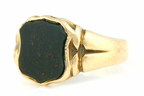Antique 9ct Gold Bloodstone Signet Ring c.1908