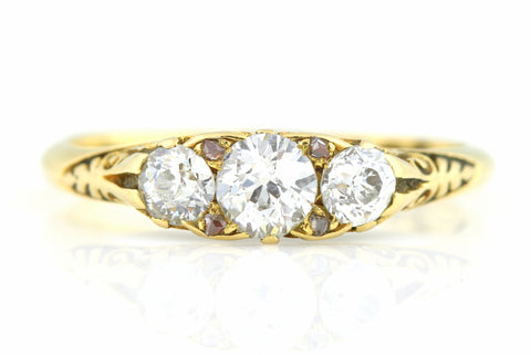 18ct Gold Edwardian Diamond Trilogy Ring (with Cognac Diamond Accents) c.1901