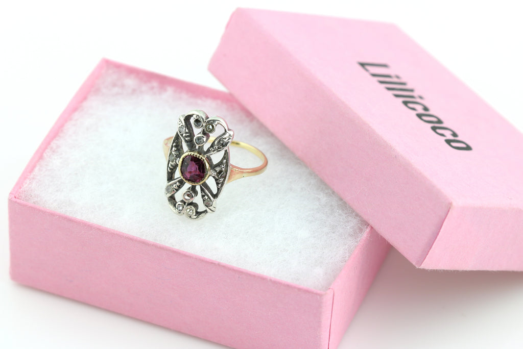 Rare Regency Style Antique Ruby & Diamond Ring c.1900