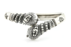 Antique Victorian Silver Bypass Bangle with Snake Motif c.1882