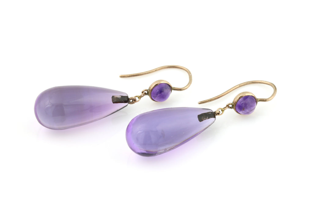 Exquisite Arts & Crafts Era Antique 9ct Gold Amethyst Drop Earrings c.1900