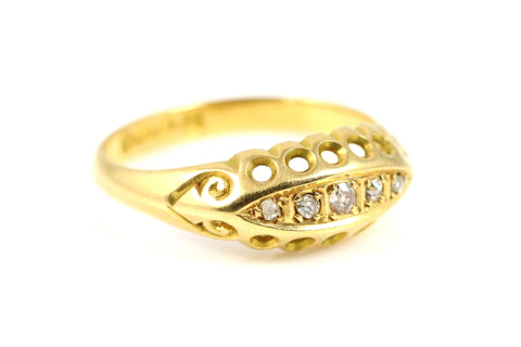 Antique Edwardian 18ct Gold Diamond Ring - Circa 1918
