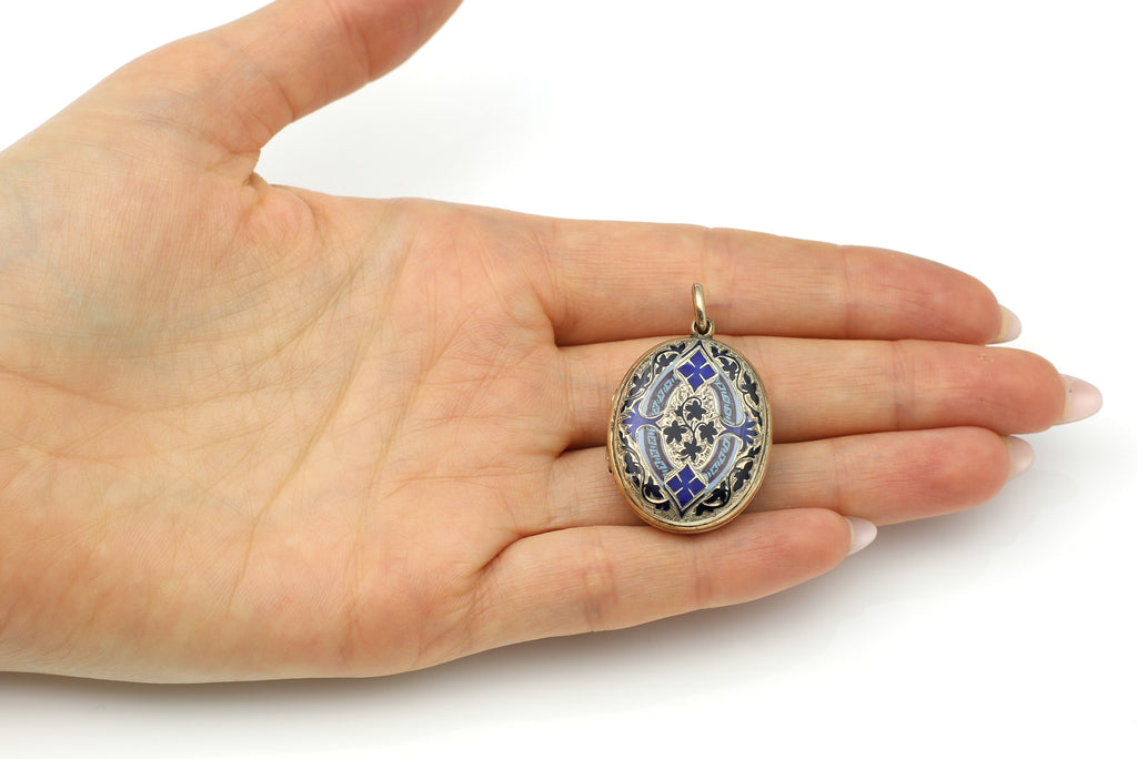 Charming 9ct Victorian Gold Locket with Enamel c.1880