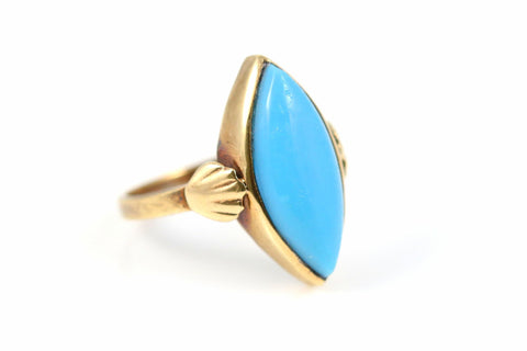 Antique Art Nouveau 9ct Gold Turquoise Glass Ring- Circa 1910