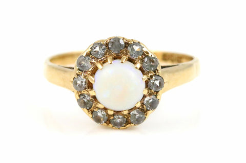 Vintage 9ct Yellow Gold Natural Opal Cluster Ring- Circa 1964