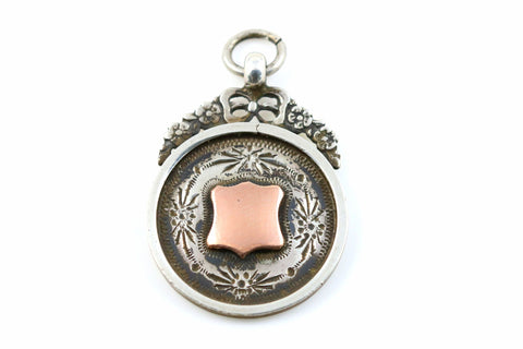 Old English Silver and Rose Gold Fob Pendant- Circa 1931