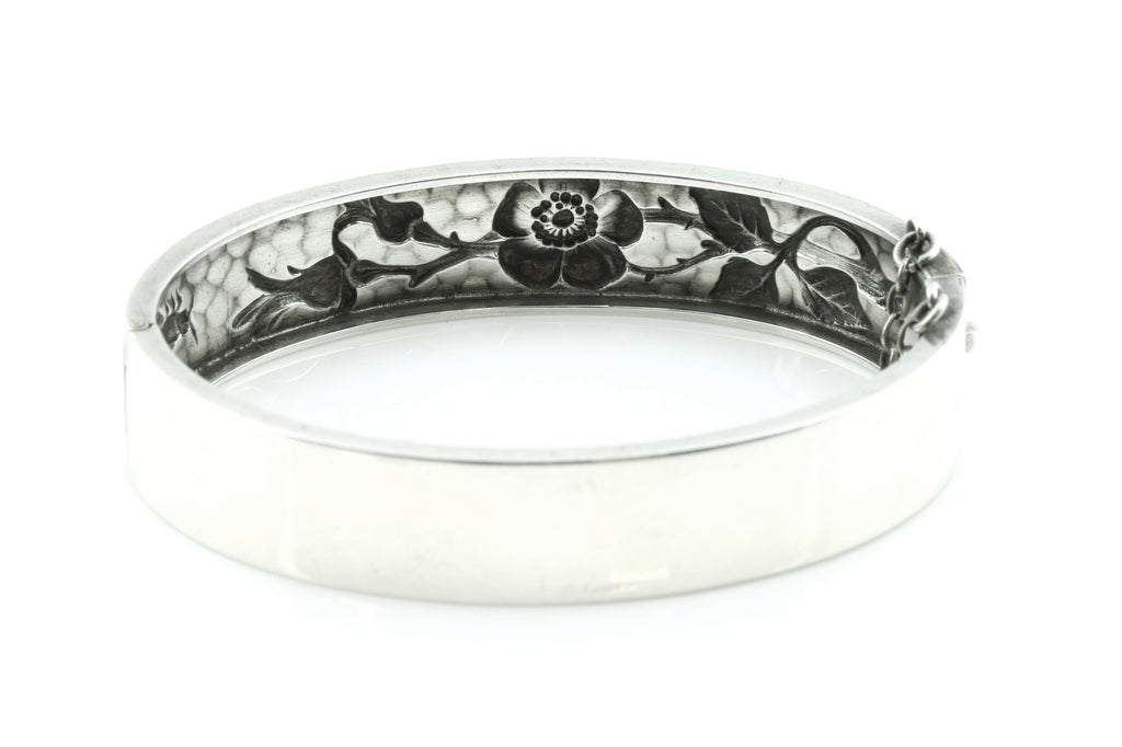 Darling Wild Rose Repousse Antique Silver Bangle c.1900