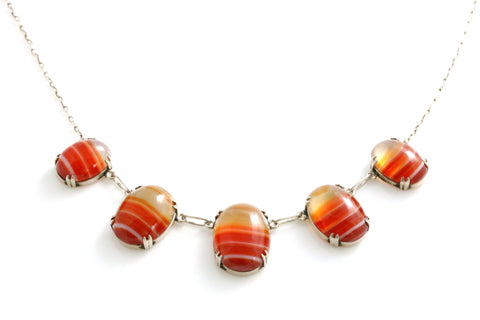 Antique Scottish Silver Orange Agate Necklace- Circa 1910