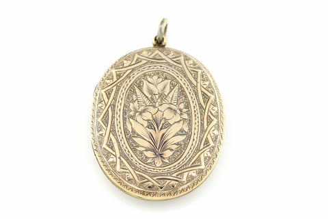 Spectacular Large Antique 9ct Gold Locket & Chain c.1905