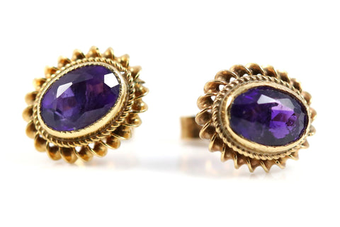 Amethyst & 9ct Gold Stud Earrings-Circa 1975
