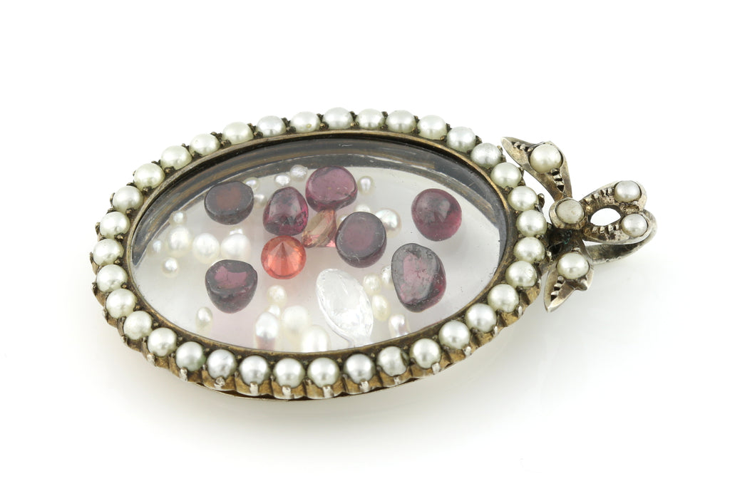 Beautiful Silver Antique Shaker Locket with Precious Gems c.1905