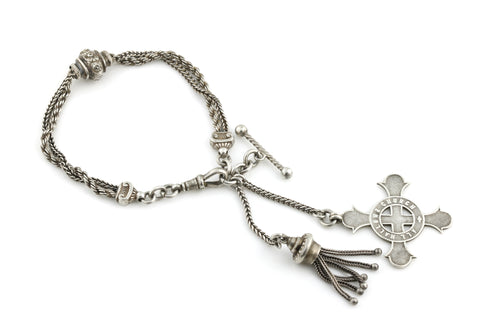 Antique Victorian Silver Albertina Bracelet with Tassle and T-bar c.1880