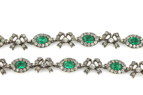 Antique Paste Riviere Necklace (Emerald Green) c.1840
