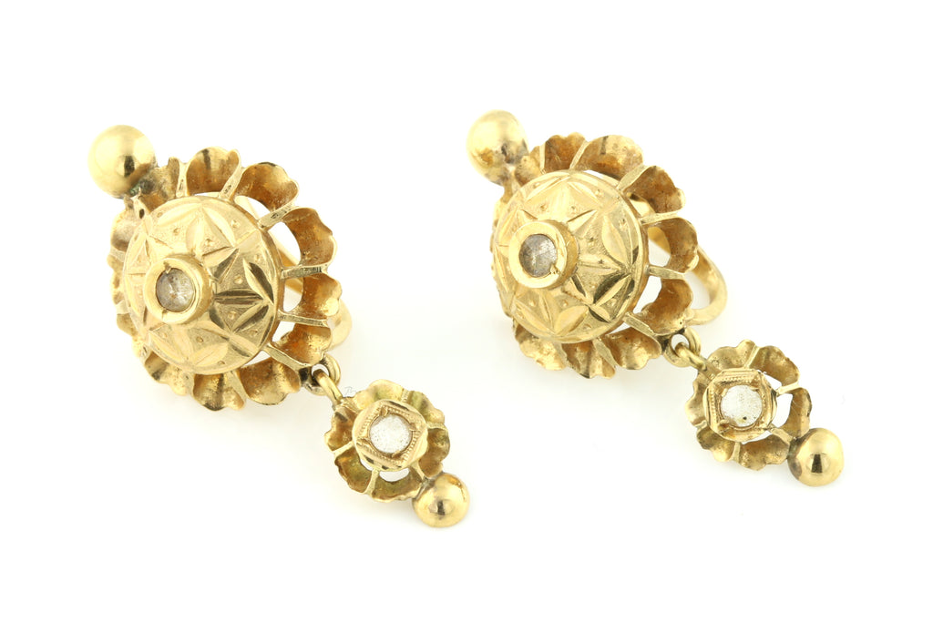 "RESERVED for ""B"" - 18ct Gold Iberian Rose Cut Diamond Earrings c.1800"