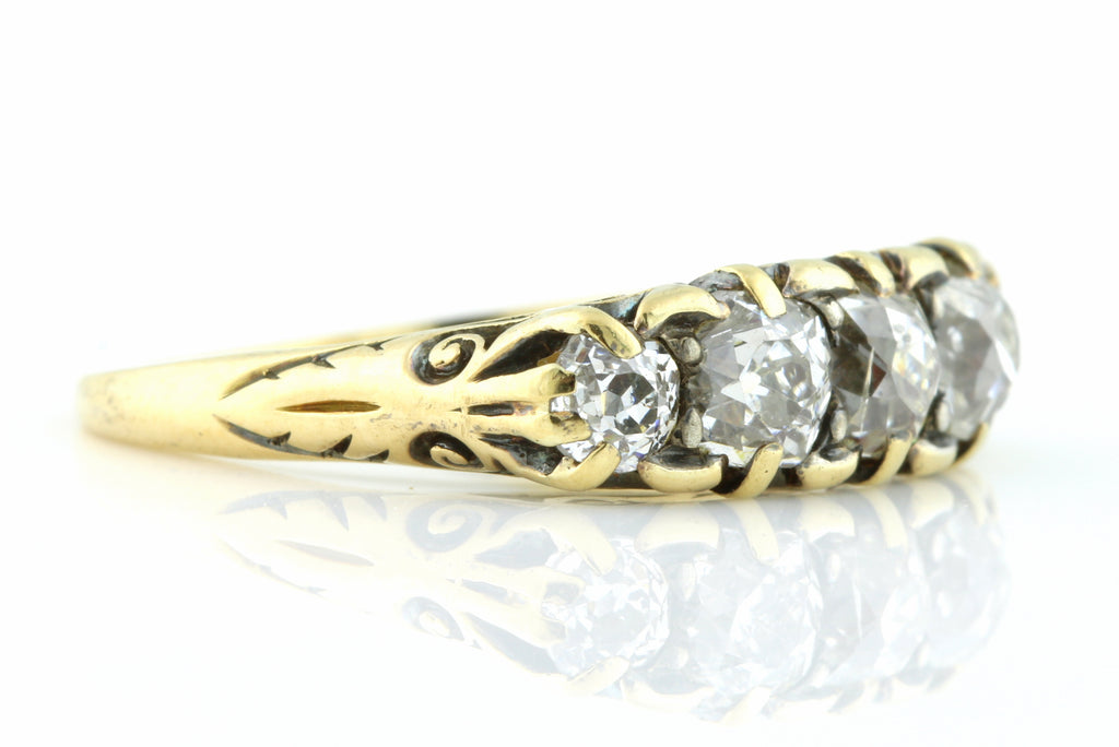 Victorian 5 Stone Old Cut Diamond Ring
