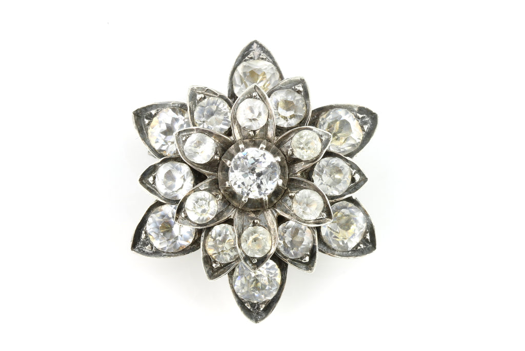 Antique Silver Paste Flower Brooch c.1830