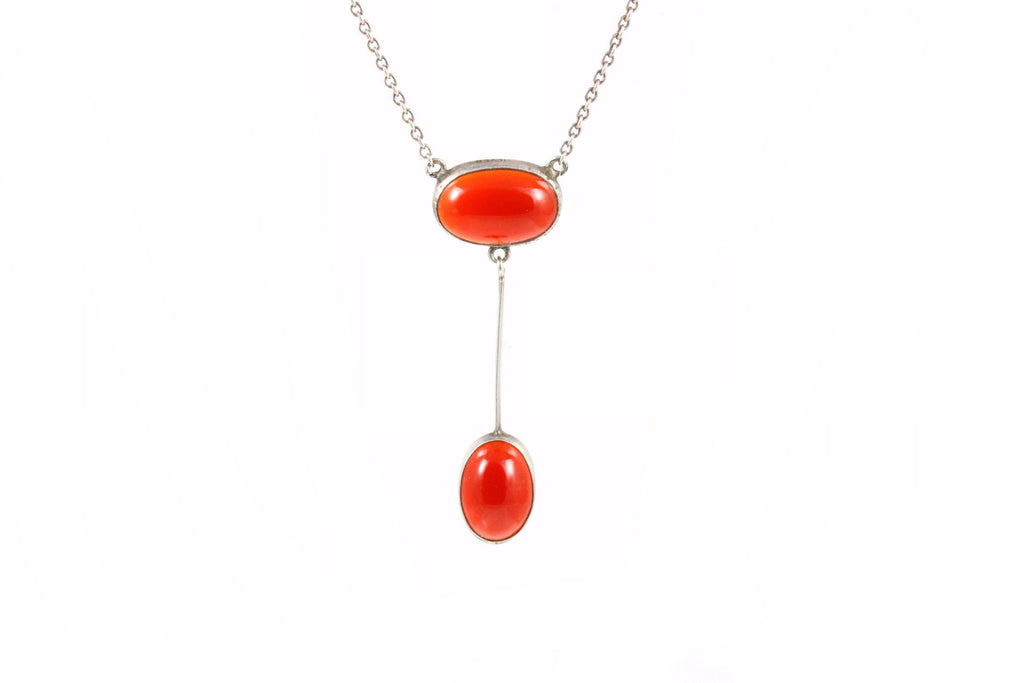 Silver Carnelian Necklace c1910 Arts and Crafts Era