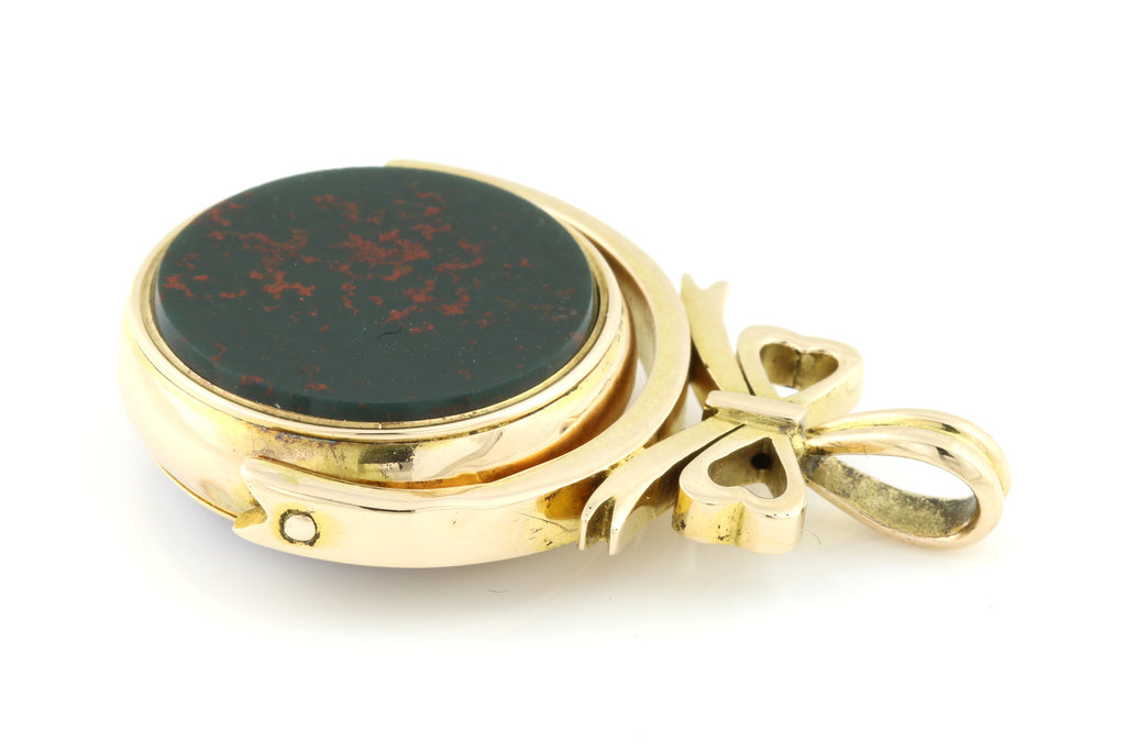 15ct Gold Agate and Bloodstone Antique Spinning Fob Pendant c.1850