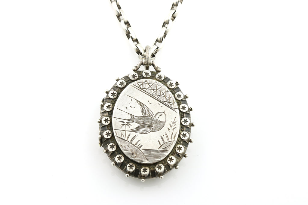 Victorian Aesthetic Silver Locket with Bird Motif, with Chain c.1885