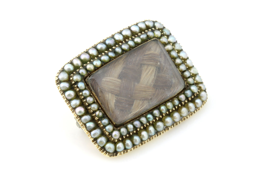"RESERVED for ""V""! - Antique 9ct Gold Georgian Pearl Mourning Brooch c.1820"