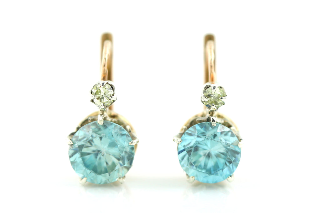 Classic Art Deco 18ct Gold Zircon and Diamond Earrings c.1930