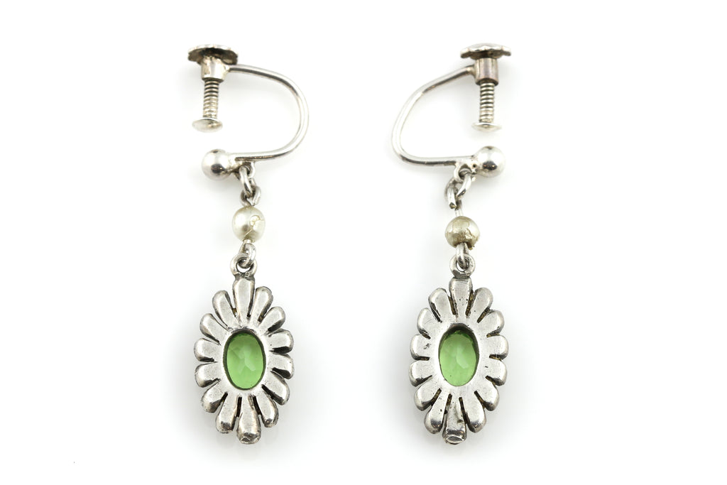 RESERVED! Art Deco Silver Peridot Drop Earrings c.1920