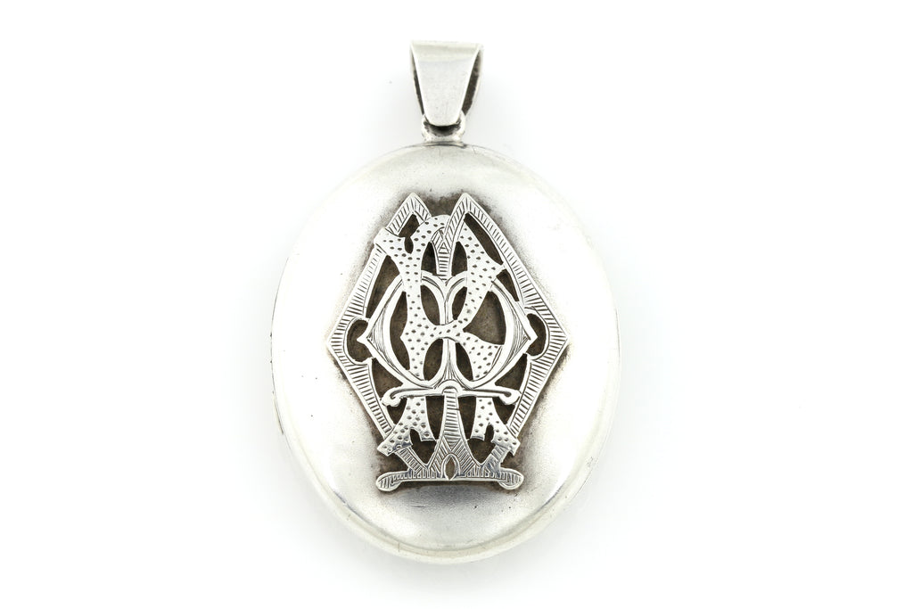 Heavy Victorian Silver Monogram Locket c.1860
