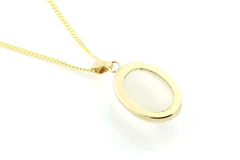 "Vintage 9ct Gold Moonstone Pendant & 16"" Chain"