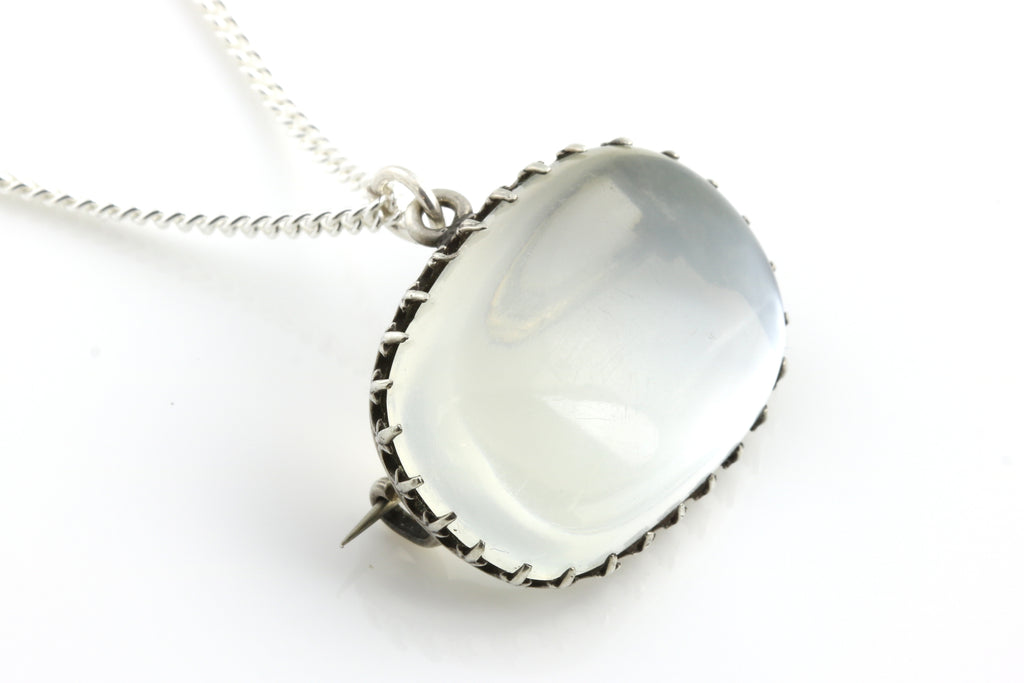 Antique Silver Moonstone Brooch Pendant, with Chain c.1890