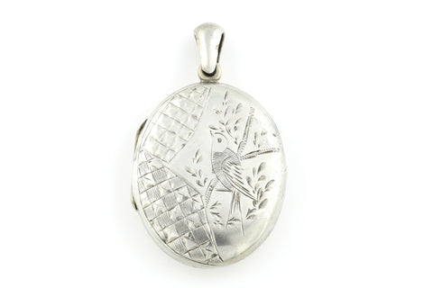 Antique Victorian Silver Locket with Sweet Bird in Flight  c.1880