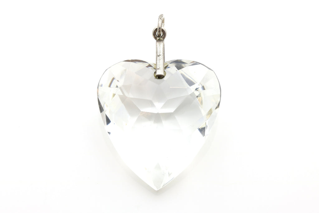 Art Deco Rock Crystal Heart Pendant, with Chain c.1920