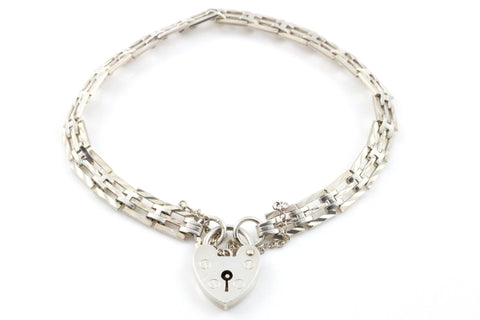 Sweet Vintage Silver Gate Bracelet with Heart Padlock - Circa 1973