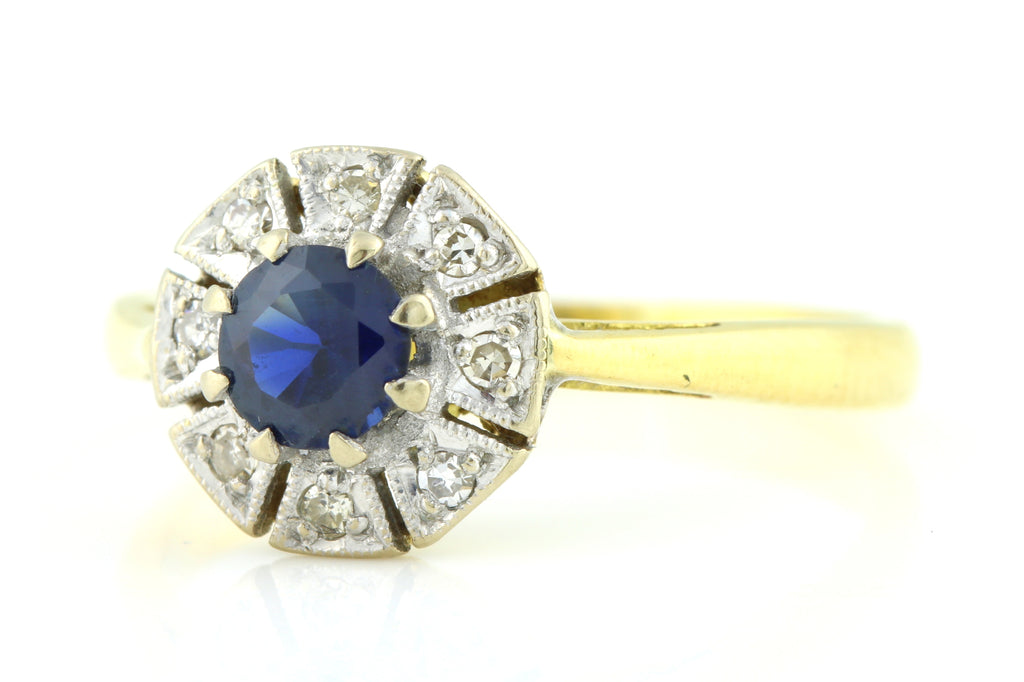 "18ct Gold Art Deco Sapphire Diamond ""Flower"" Cluster Ring c.1920"