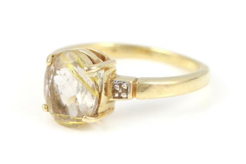 Vintage Dress Ring Quartz & Diamond 9ct Gold