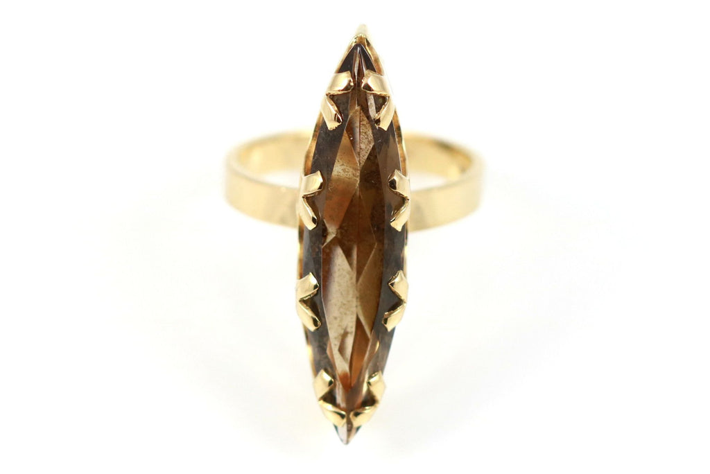 Vintage Cocktail Ring - Circa 1974 - 9ct Gold Smokey Quartz